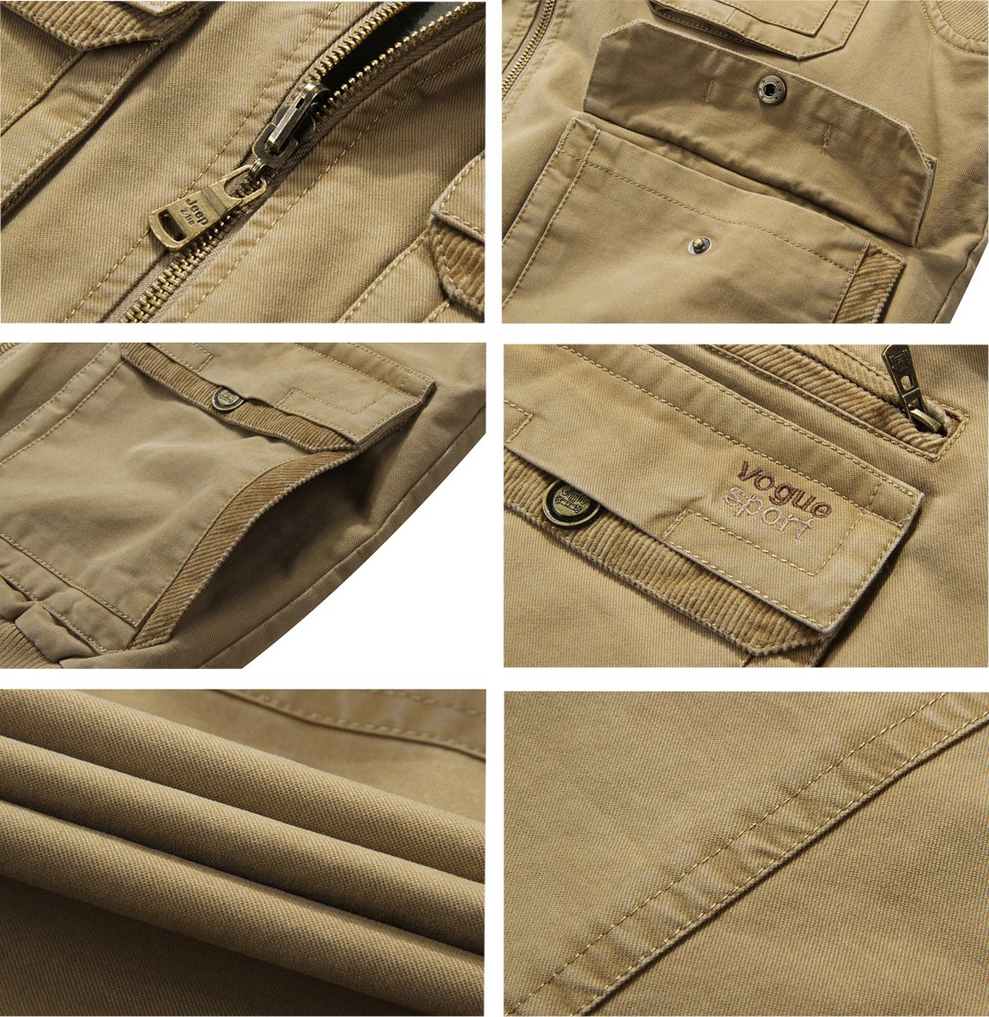 Gihuo Men's Reversible Cotton Leisure Outdoor Pockets Fish Photo Journalist Vest (L, Khaki) by Gihuo (Image #6)