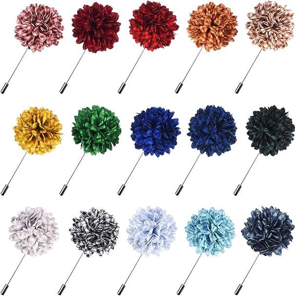 Amazon.com: Canomo 15 Piezas Flores Hombres Solapa Pins ...