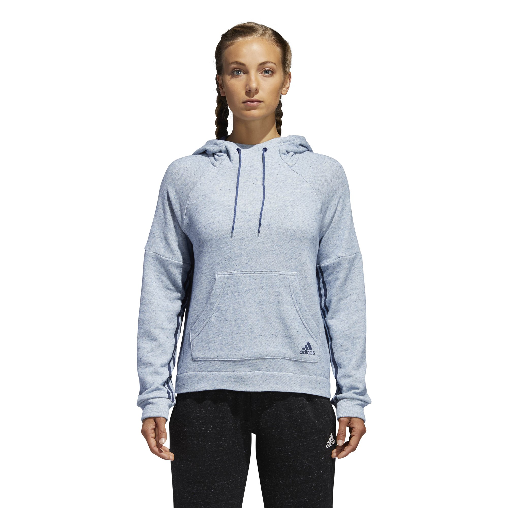 adidas Womens Athletics sport-2-street Pullover Hoodie, Mélange/Noble Indigo, X-Small