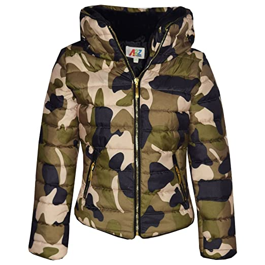 63a9e36103ccd Amazon.com: Girls Jacket Kids Padded Camouflage Puffer Bubble Fur Collar  Quilted Warm Coats: Clothing