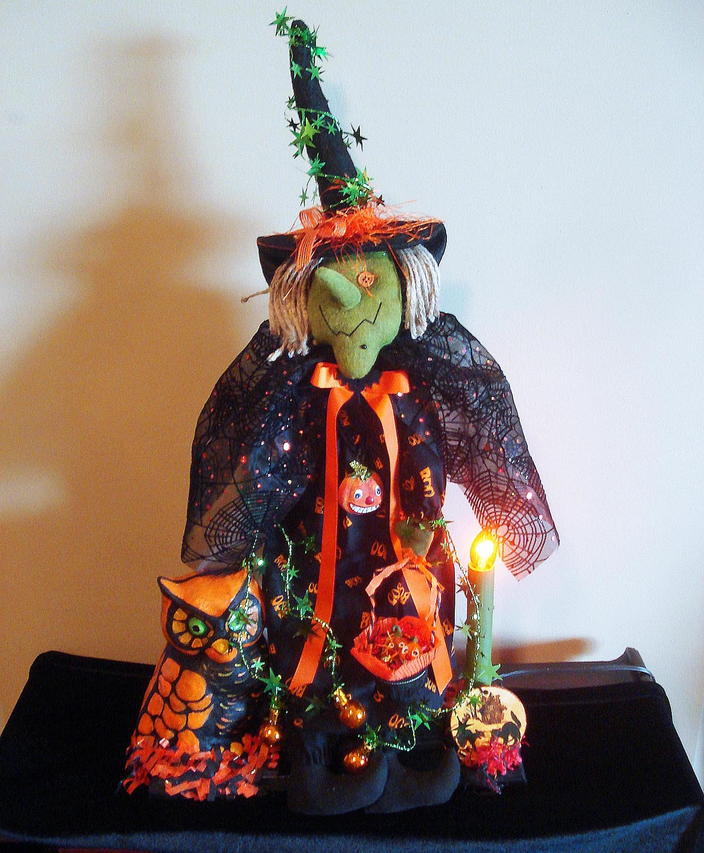 Clearance Sale - Halloween - Lighted Wicked Witch and Owl Halloween Sculpture By Christopher James - Illuminated Halloween Decoration - Made in America