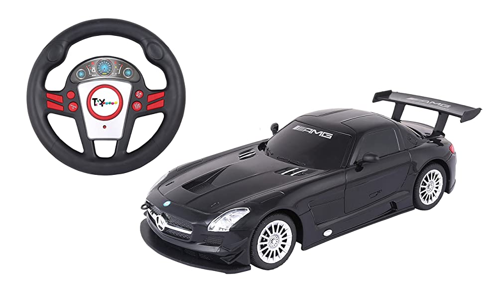 Toyhouse Officially Licensed Mercedes SLS AMG GT3 1:24 Scale Model Car with Gravity Sensor Remote, Black