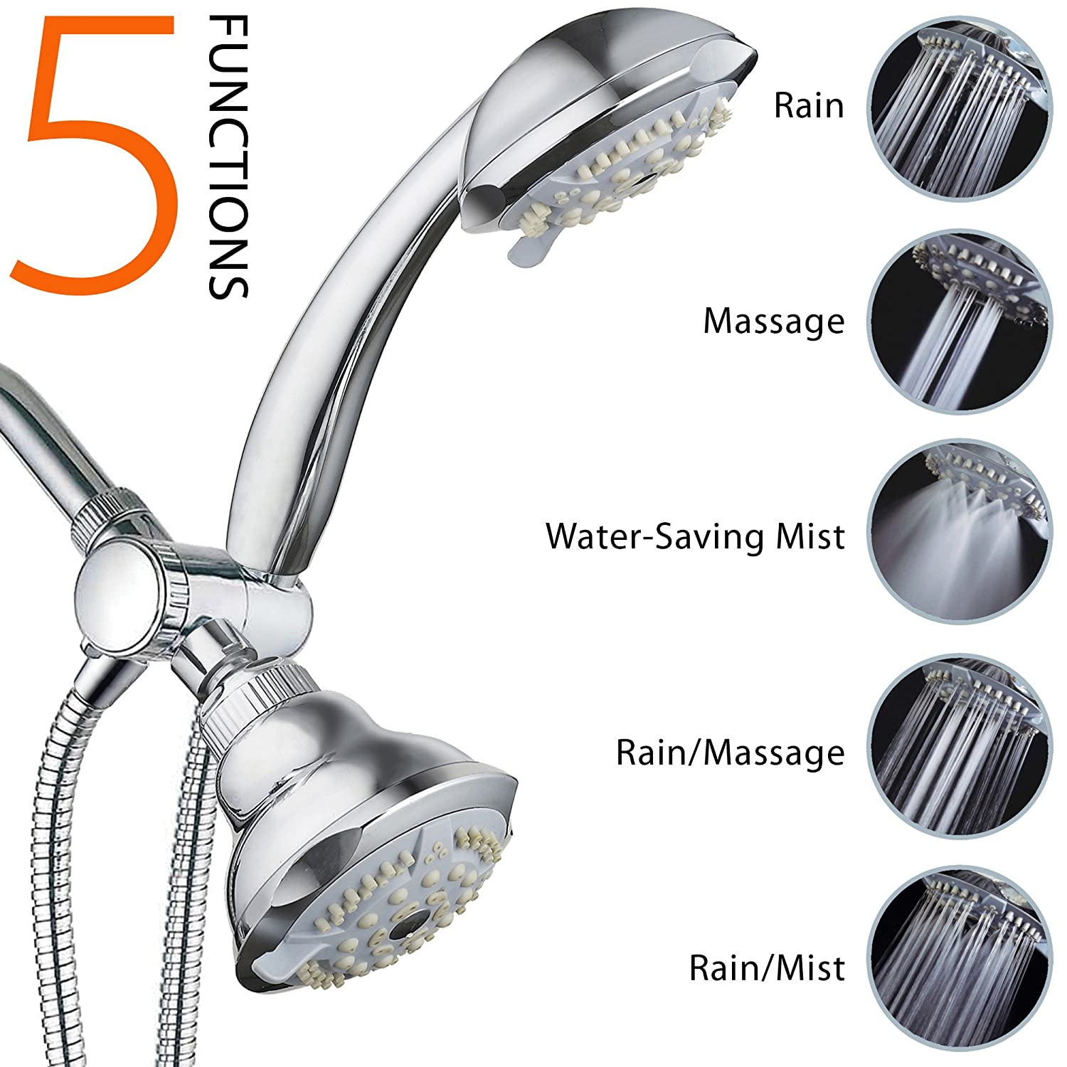 DreamSpa 19-setting 3-way 2 in 1 Luxury Shower Combo - - Amazon.com