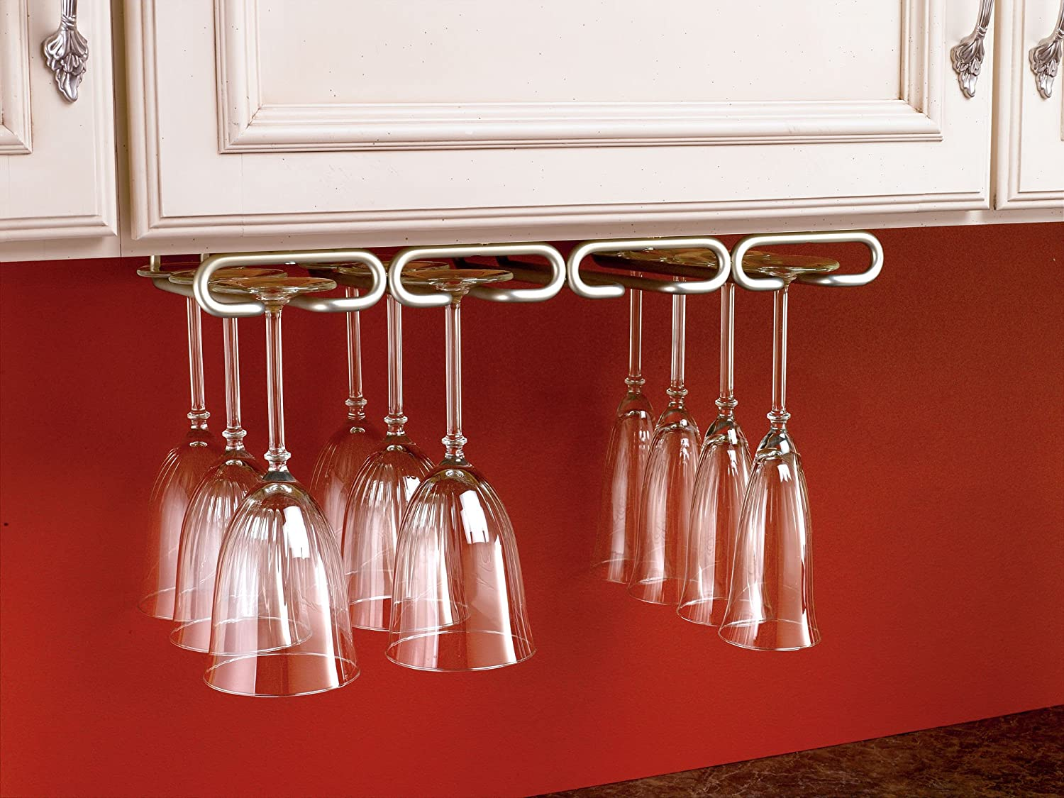 under cabinet wine glass rack. Amazon.com: Rev-A-Shelf 3450-11SN - 11 In. Satin Nickel Under Cabinet Quad Wine Glass Holder: Home \u0026 Kitchen Rack S
