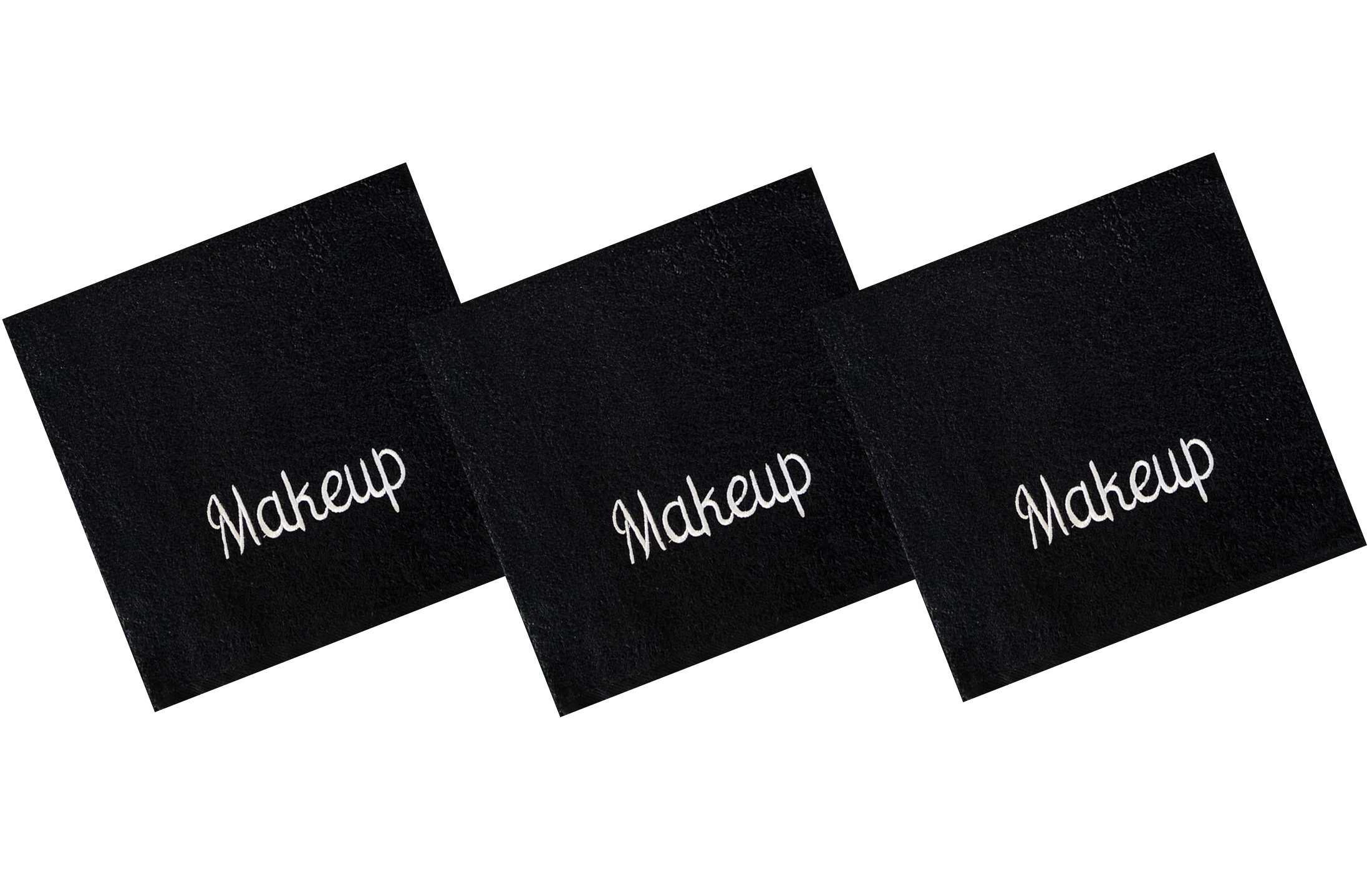 Luxury 100% Cotton Makeup Removal and Cleansing Embroidered Wash Cloths, New Colors, Set of 3 Make-Up Wash Cloths, Black with White Embroidery