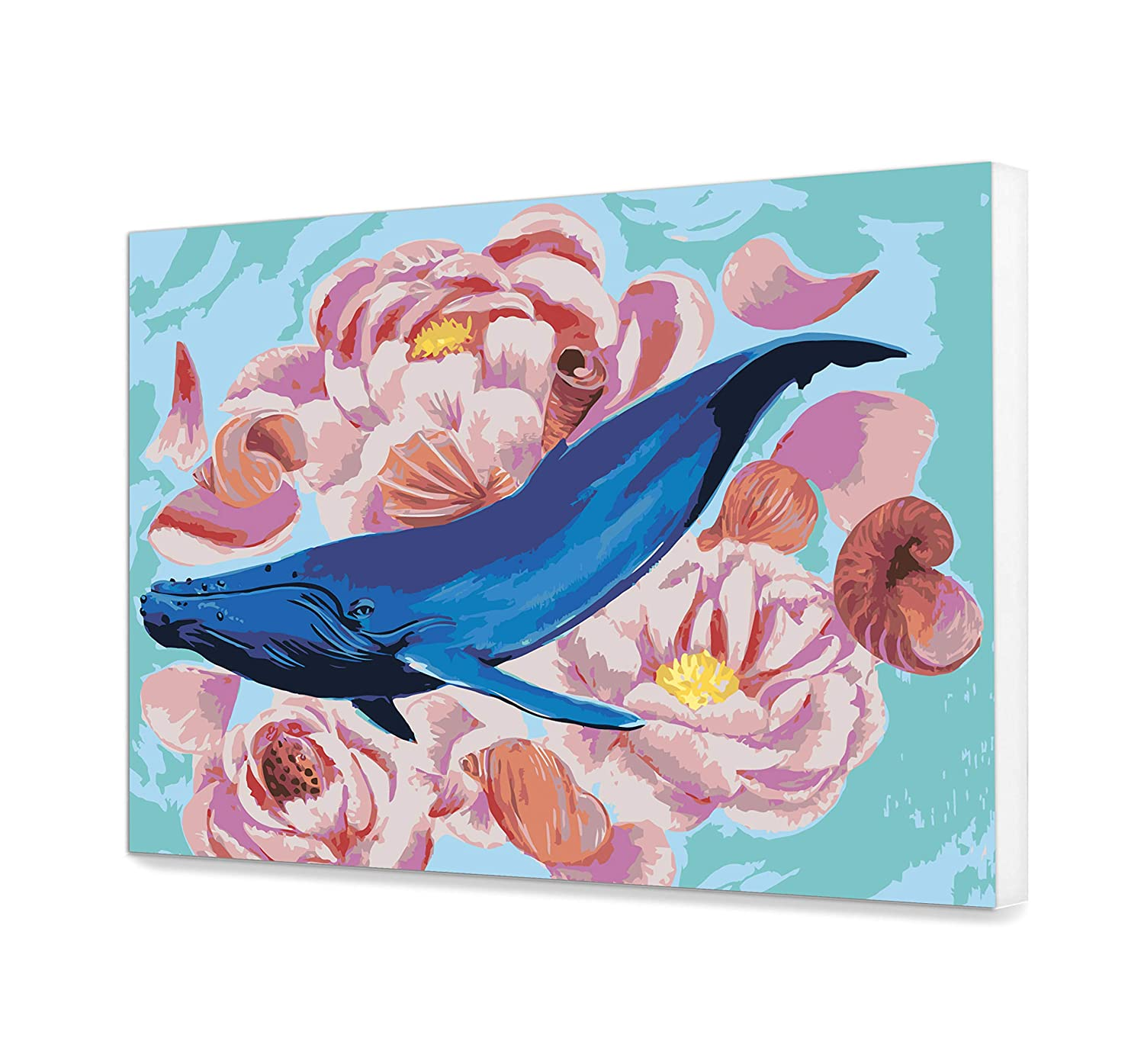 Whale Perfect Gift Idea for Painter DIY Set Flowers Paint by Numbers Intermediate Painting Kit HandMade Sea Paint Home Art Decor