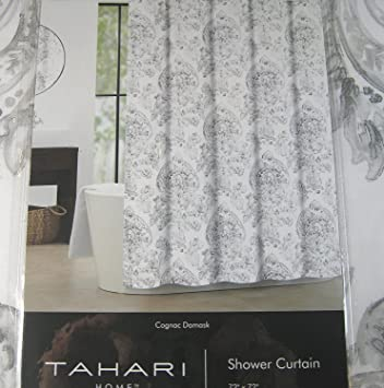 Tahari Home Medallion Print Shower Curtain Cognac Damask Gray On White 72quot