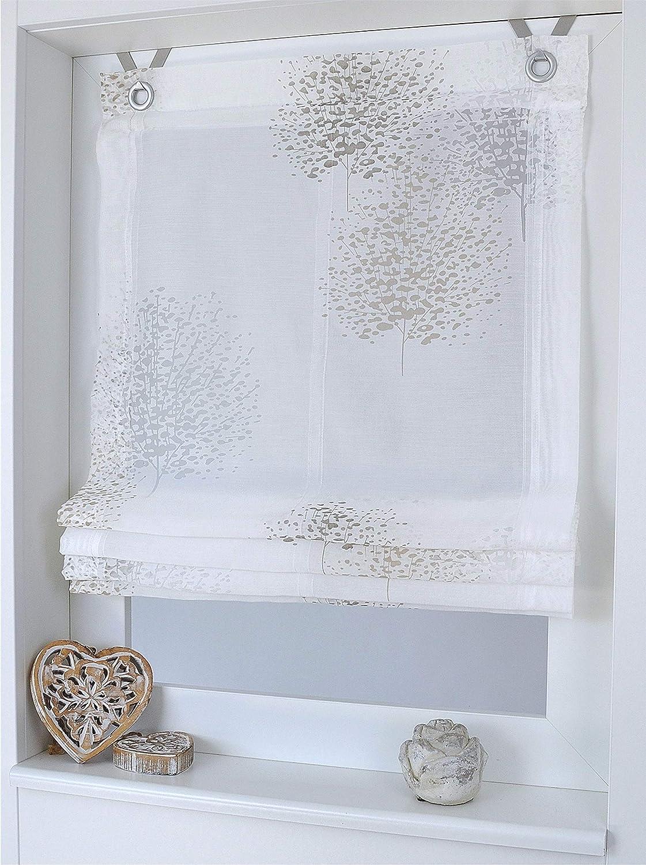 140 cm Kutti Tenda a Pacchetto Bellinda Bianca Motivo Floreale Naturale con Occhielli 120