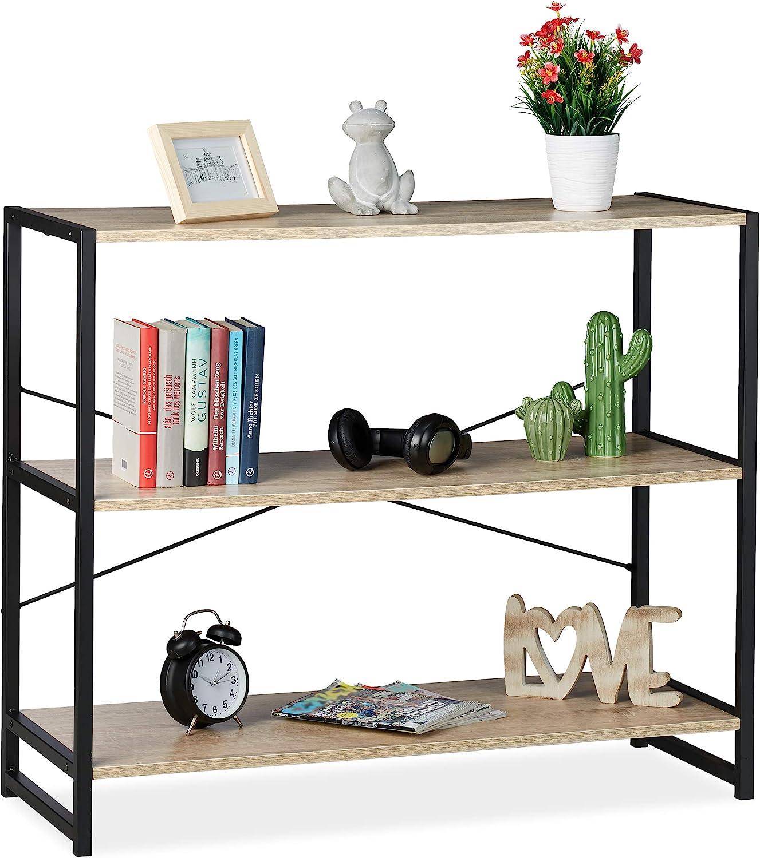 Relaxdays Estantería de pie, Librería Industrial, Tres estantes, Transversal, 80x95x5 cm, Roble, Metal, Marrón y Negro