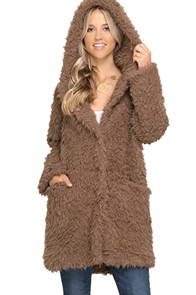 Amazon.com: Chaqueta con capucha de piel sintética para ...