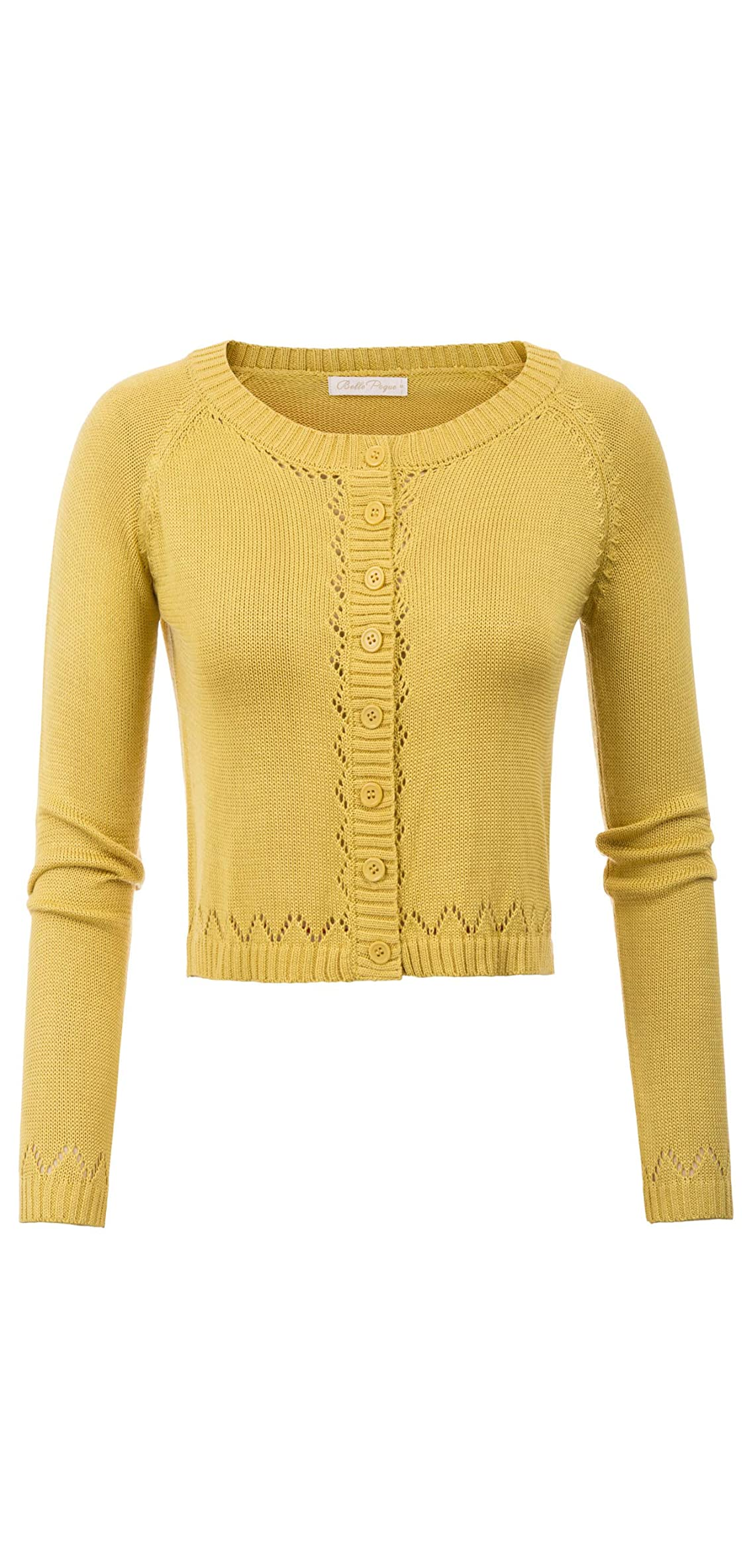 Women Vintage Button Down Crochet Cropped Bolero