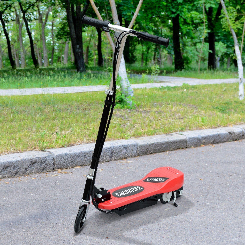 HOMCOM Patinete Eléctrico Plegable Tipo Scooter con Manillar Ajustable Freno y Pie de Apoyo 120W Carga 50kg 81.5x37x96cm