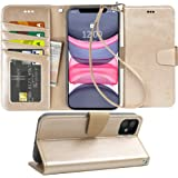 Arae Case for iPhone 11 PU Leather Wallet Case Cover [Stand Feature] with Wrist Strap and [4-Slots] ID&Credit Cards Pocket fo