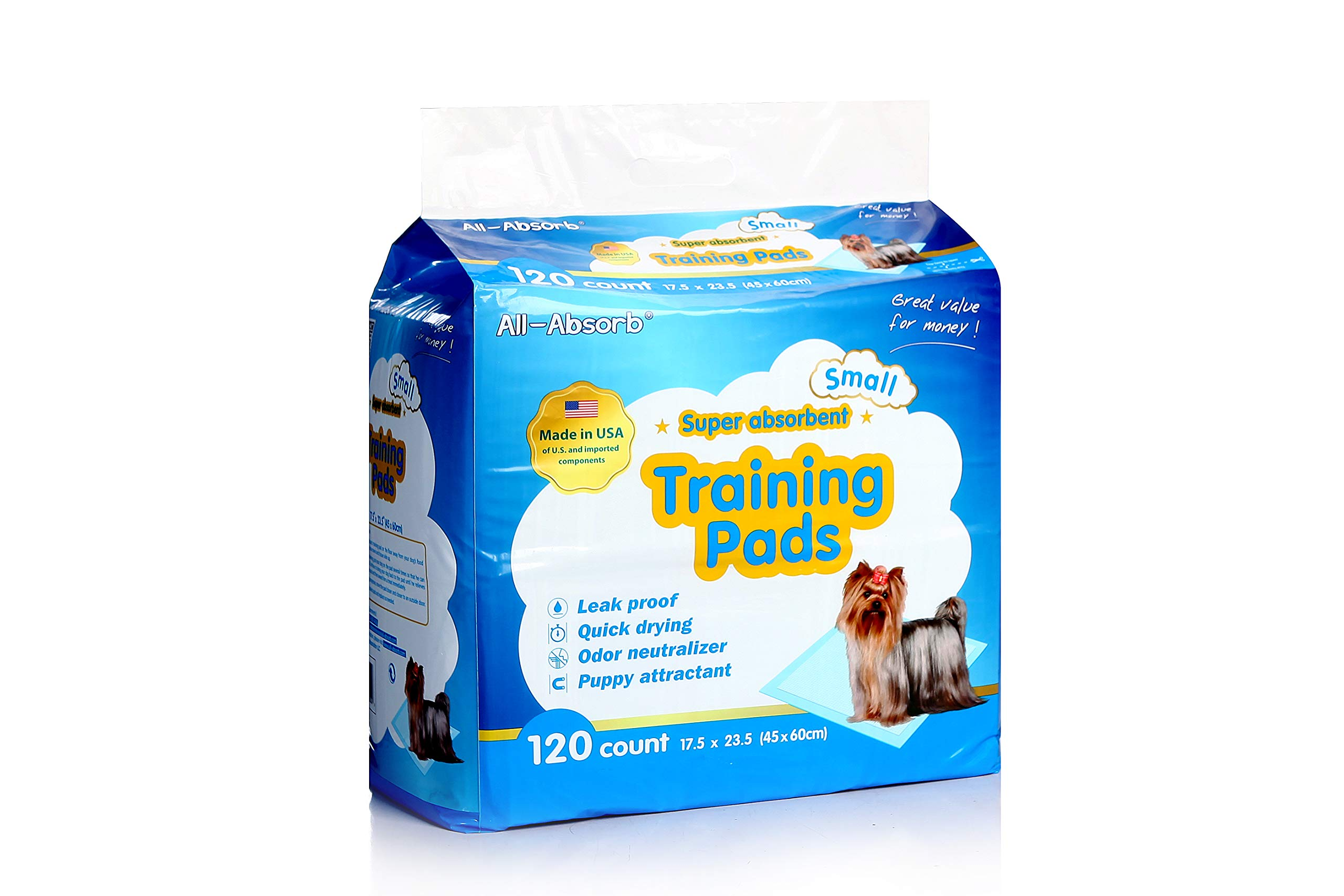 dog supplies online all-absorb 120 count training pad, 17.5 by 23.5-inch, white and blue