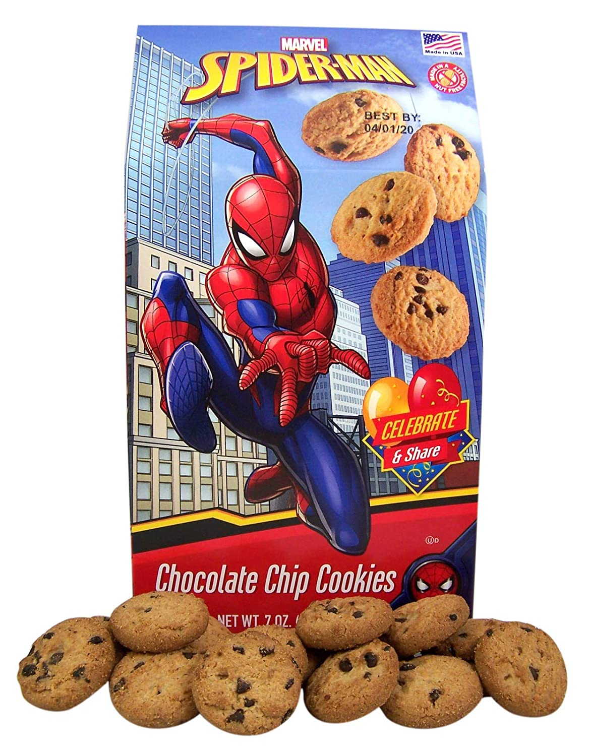 Marvel Spider Man Mini Chocolate Chip Cookies Snack for Kids