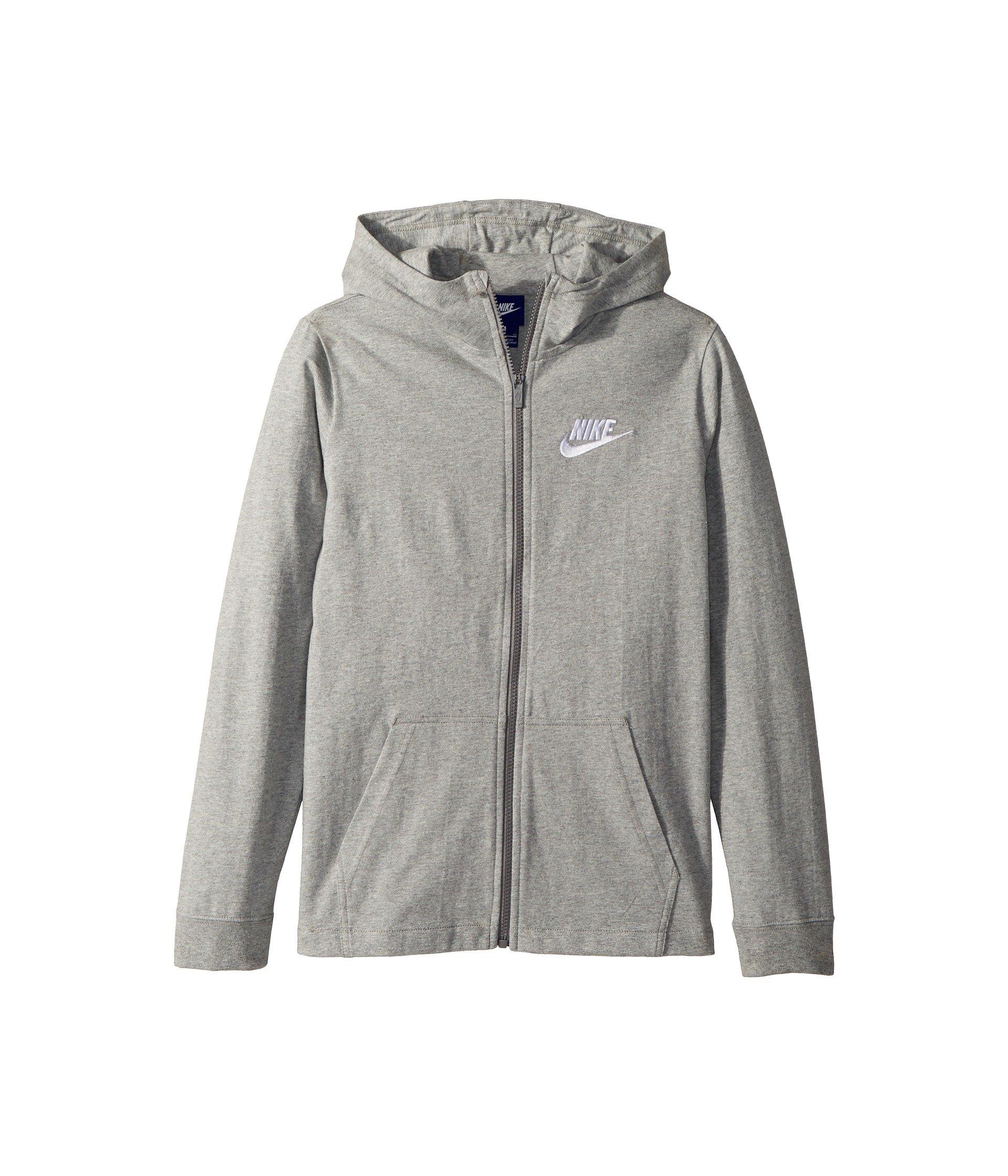 Nike Boy's Sportswear Full-Zip Hoodie (Gray, X-Large)