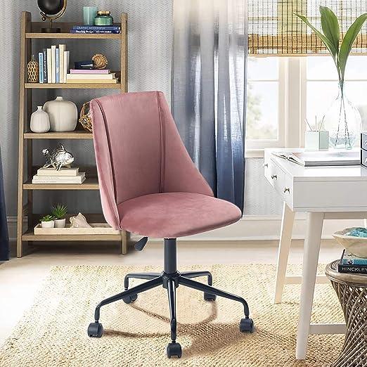 Yata Home Bürostuhl, ergonomischer Sitz, Stoff, Velours, Metall, schwarz, höhenverstellbar, 360 Grad drehbar bürostuhl ohne armlehne Rosa