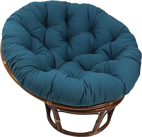 Blazing Needles Solid Twill Papasan Chair Cushion, 52 x 6 x 52 , Indigo