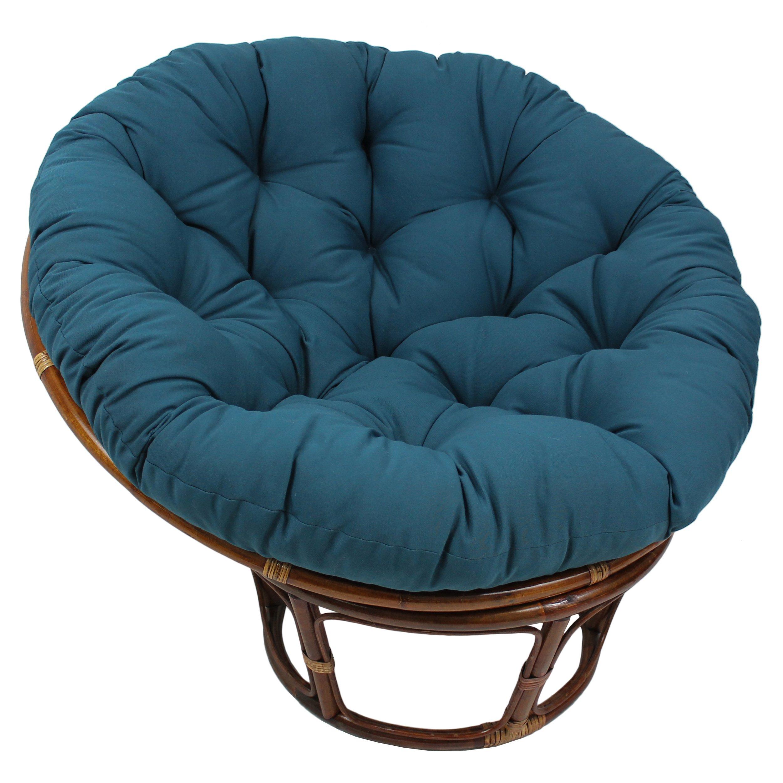 Blazing Needles Solid Twill Papasan Chair Cushion, 44'' x 6'' x 44'', Indigo by Blazing Needles