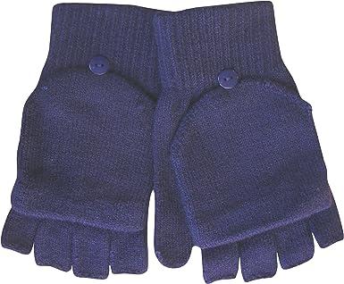Damen Winter Thermo-Strick Magic 2 in 1 Kombination Fingerlose Handschuhe /& F/äustlinge