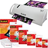 """Scotch Thermal Laminator Combo Pack Holds Sheets Up To 8.5"""" x 11(TL902A) 110 Piece Assorted Pouch Sizes & Scotch Brand Luggage Tags"""