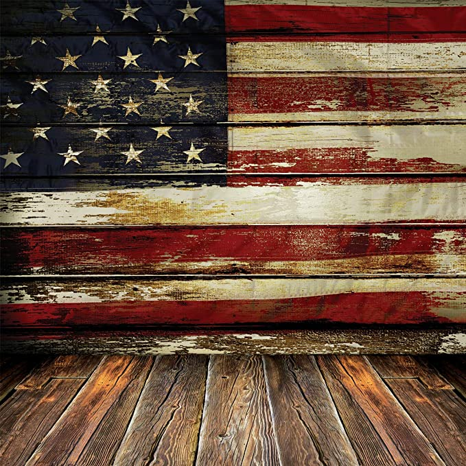GoEoo 10x6.5ft Photography Backdrop US Flag on Wooden Background Vinyl Photo Background Independence Day Patriotic Freedom Peaceful Theme Ceremony Decoration Photo Backdrops Studio Props