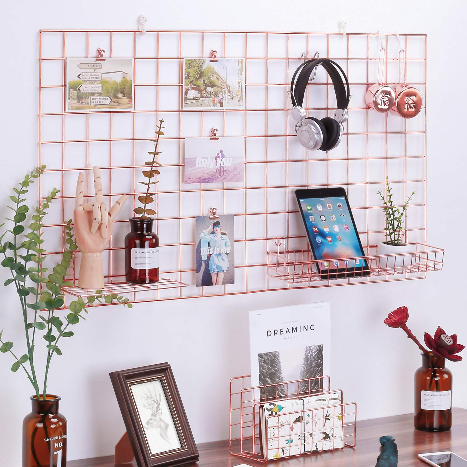 Simmer Stone Rose Gold Wall Grid Panel for Photo Hanging Display & Wall Decoration Organizer, Multi-Functional Wall Storage Display Grid, 5 Clips & 4 Nails Offered, Set of 1, Size 21.2''x37.8'' by Simmer Stone