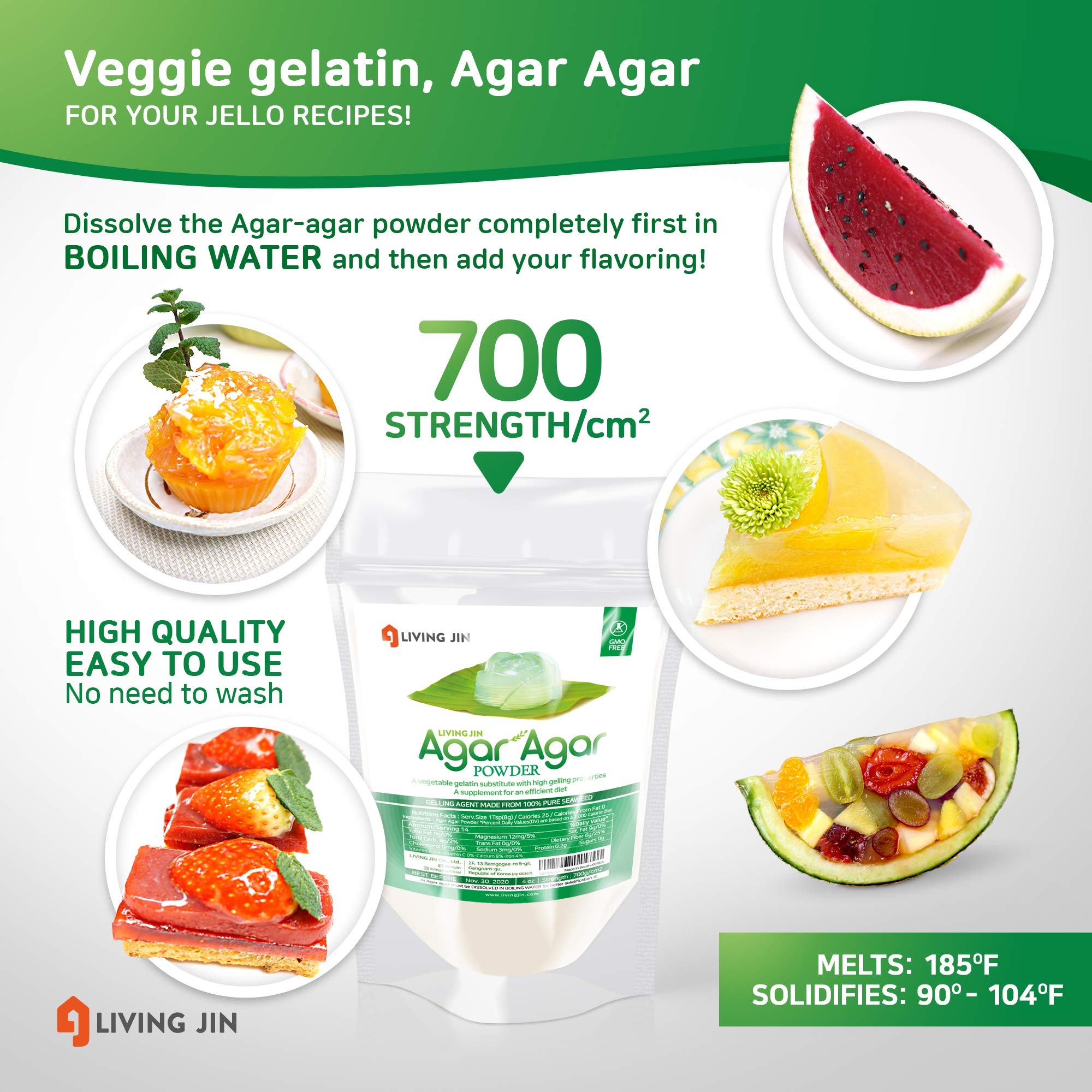 LIVING JIN Agar Agar Powder 12oz (or 4oz | 28oz) : Vegetable Gelatin Powder Dietary Fiber [100% Natural Seaweed + Non GMO + VEGAN + VEGETARIAN + KOSHER + HALAL] by LIVING JIN (Image #3)