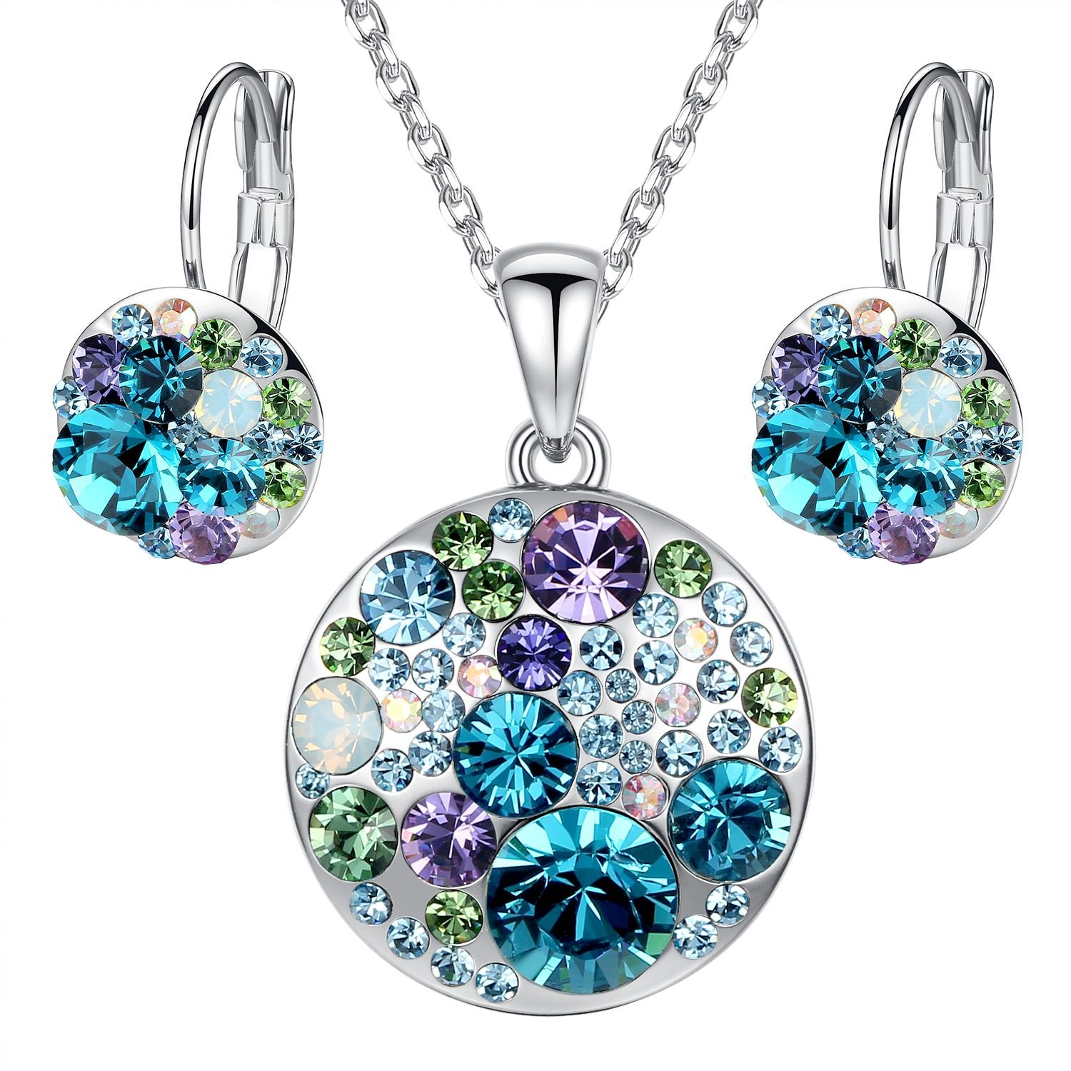 Leafael Ocean Bubble Women's Jewelry Set Made with Swarovski Crystals Light Sapphire Blue Green Purple Costume Fashion Pendant Necklace Earring Set, Silver Tone, 18'' + 2'', Gifts for Women