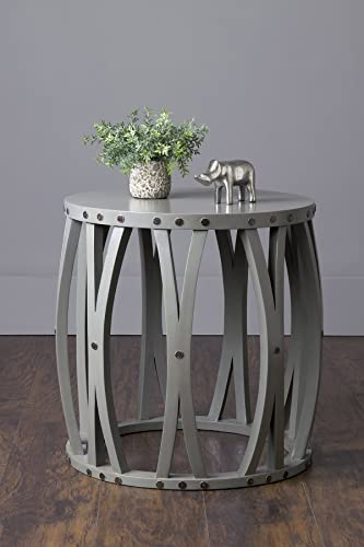 East at Main Yuma Grey Teak Round Accent Table