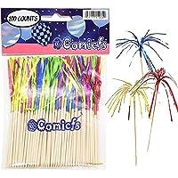 "Comicfs Cocktail Picks 4.7"" Handmade Bamboo Picks Toothpicks Sandwich Appetizer Cocktail Sticks Party Supplies 100 Counts, Foil Fireworks -16"