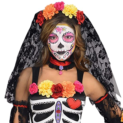 6d3229e3f1952 Small 8-10 Ladies Day of the Dead Senorita Sugar Skull Girls Floral Flower  Halloween Skeleton Dia de los Muertos Fancy Dress Costume Outfit   Amazon.co.uk  ...