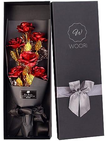 Golden Long Stem Handcrafted Flower Valentines Wedding Birthday 24K Gold Foil Rose Gift Tag