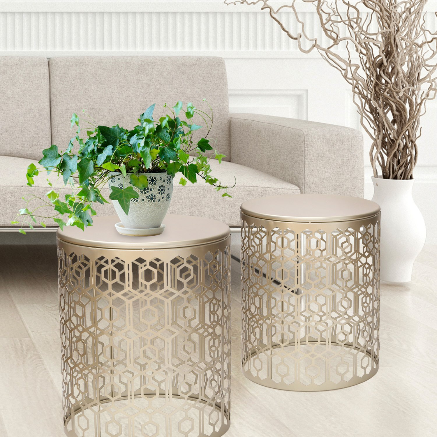 Amazon Joveco Metal Iron Strip Structure Stool End Table Side