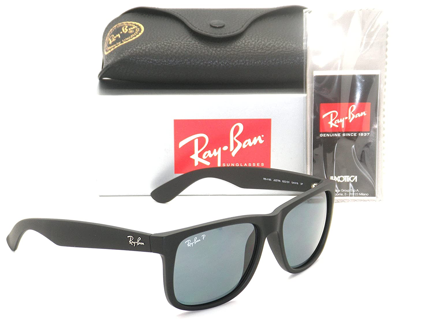 Authentic Ray-ban Justin RB 4165 622/2V 55mm Rubber Black / Dark Blue Polarized