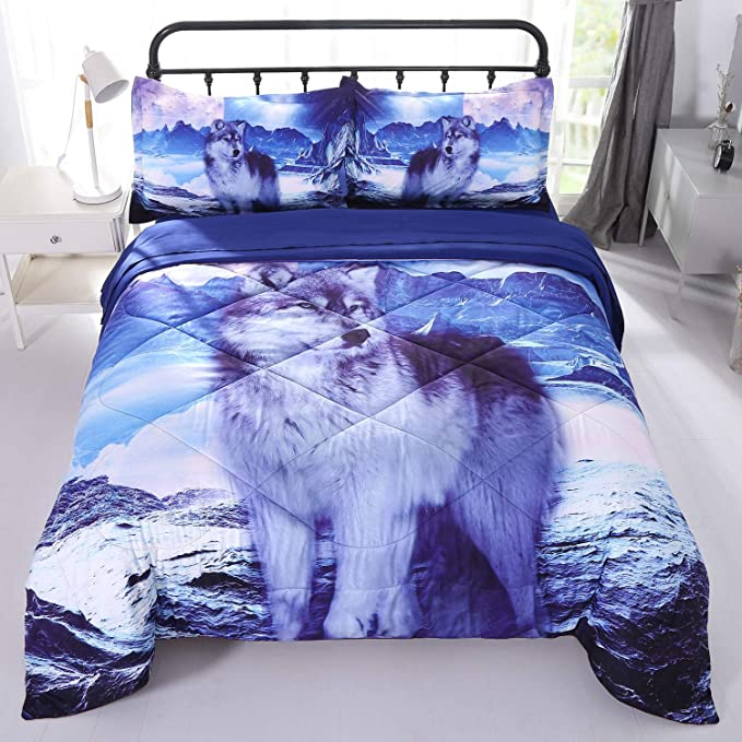 Wowelife White Wolf Comforter Sets Full 5 Piece Wolf Bedding Set Blue With Comforter Flat Sheet Fitted Sheet And 2 Pillow Cases For Kids Full White Wolf Kitchen Dining