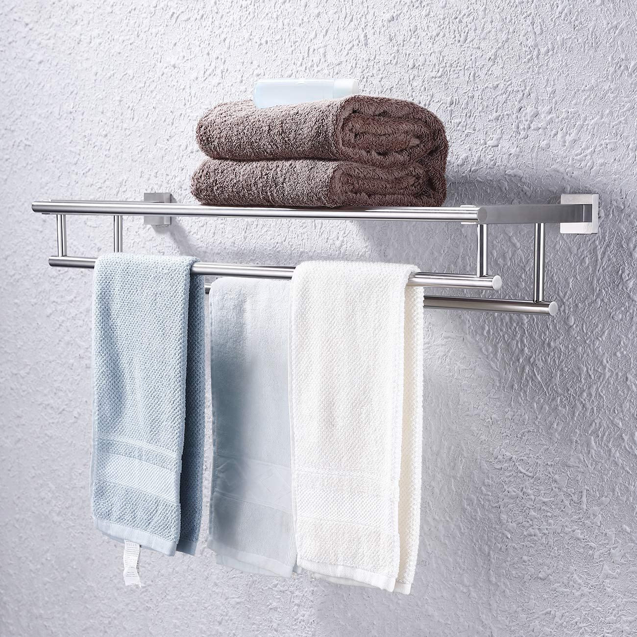 Kes Large Towel Rack A2112S30-2 KES Home Shower Organizer Modern Square Style Wall Mount Brushed Finish 30 Inch Stainless Steel Towel Shelf with Two Bar
