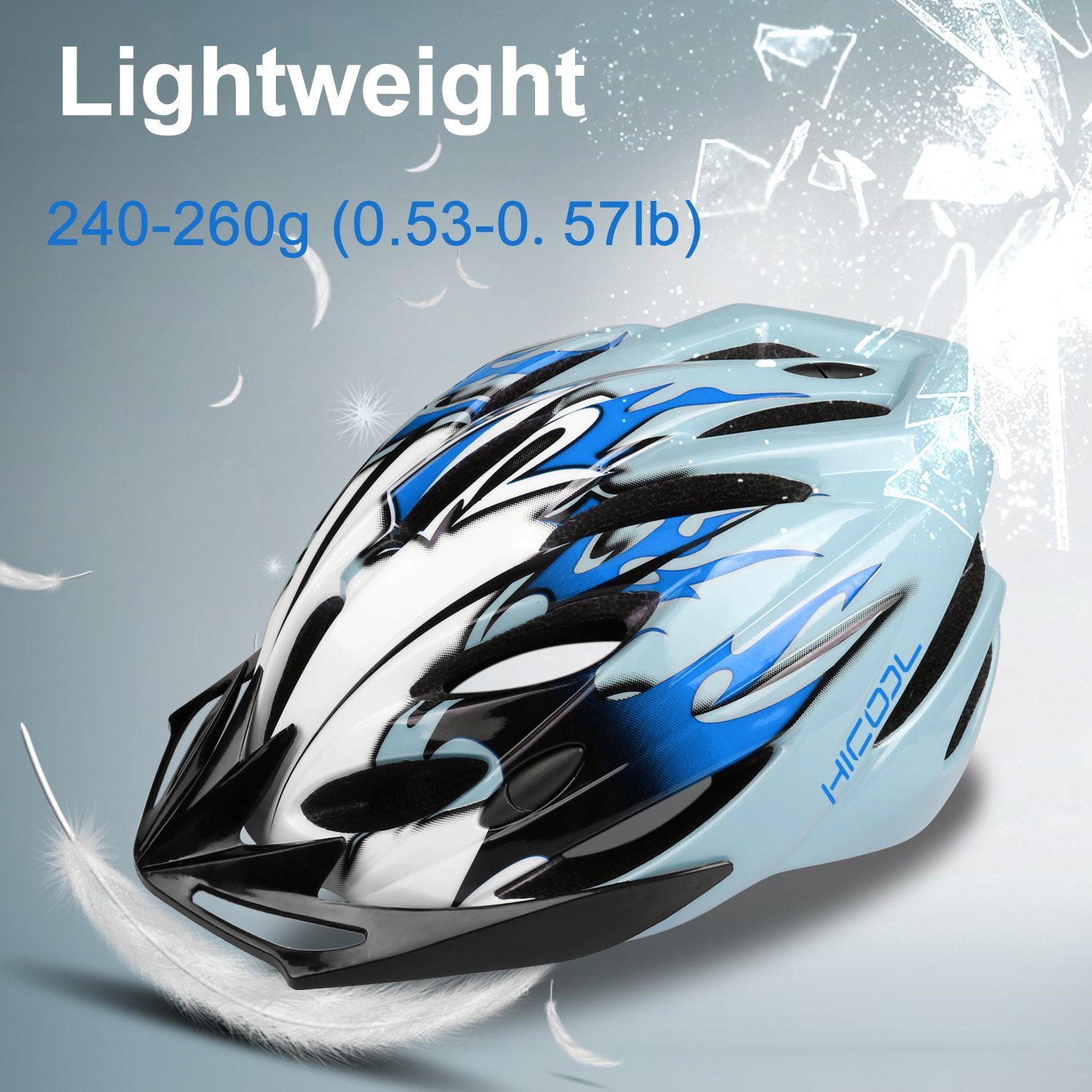 Lightweight Bike Helmet Bicycle Helmet Outdoor Sports Helmet with Removable Visor and Adjustable Design for Men Women Safety Protection HiCool Adult Cycling Helmet