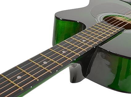 ts-ideen 3834 guitare folk country western acoustique vert sunburst etui noir impermeable sangle cordes multicolores