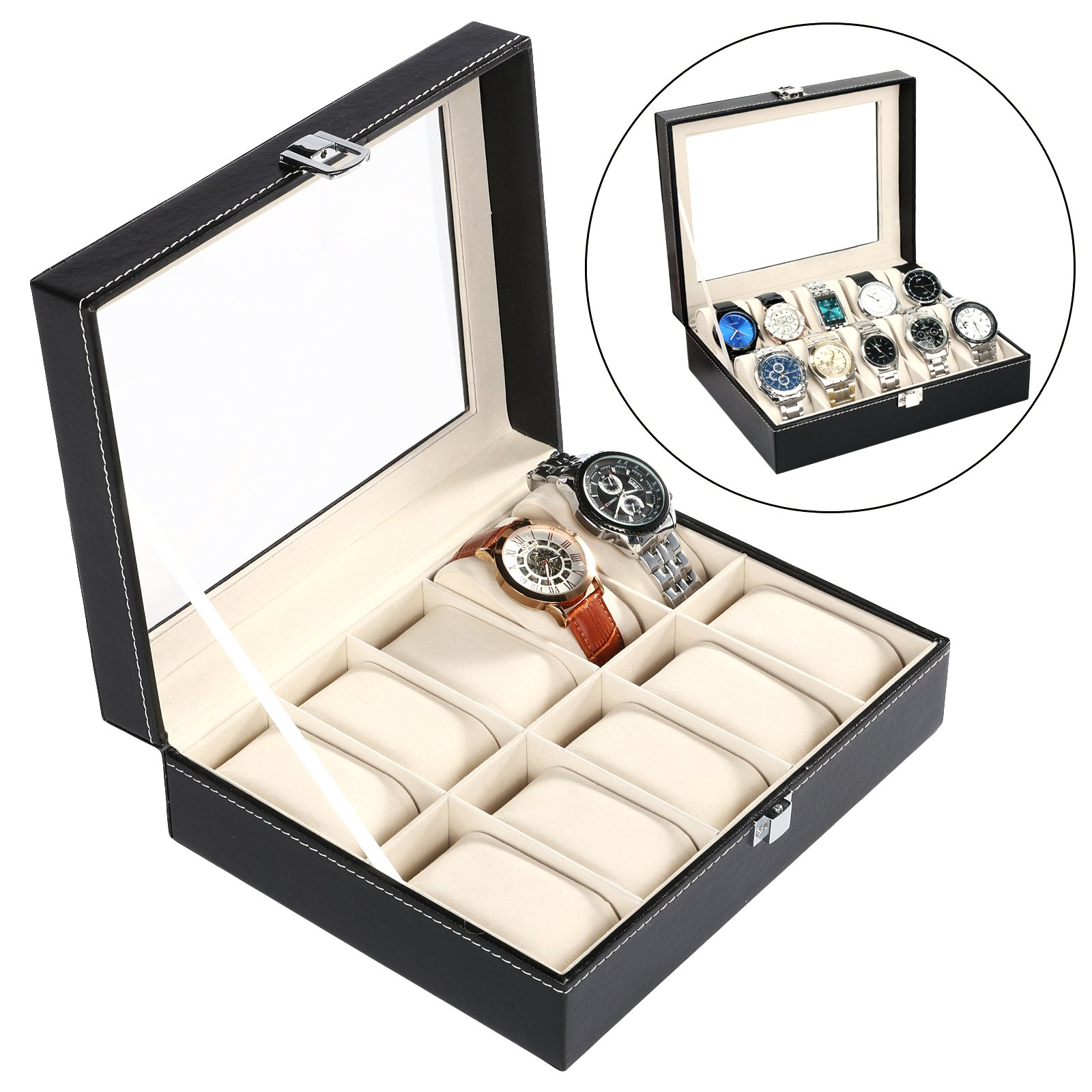 Homdox Watch Box 10 Mens Velvet Pillow Slots, Premium Display Case With Framed Glass Lid Faux Leather Organizer,Black, Sturdy & Secure Lock