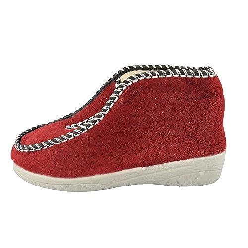 Unbekannt - Zapatillas de estar por casa de tela para mujer, color Rojo, talla 36