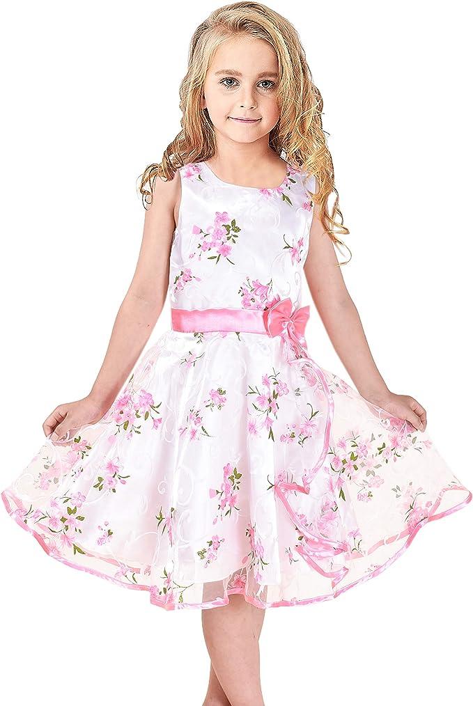 Sunny Fashion Vestito Bambina 3 Livelli Rosa Fiore Onda Pageant Nozze Bambini Capi di Abbigliamento 4-12 Anni