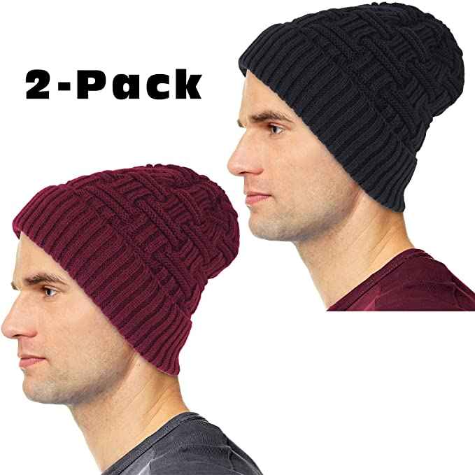 b2d6bff98c7fa Image Unavailable. Image not available for. Color  Debra Weitzner Mens  Slouchy Beanie Knit Winter hat Warm Wool Fur Skull Cap ...