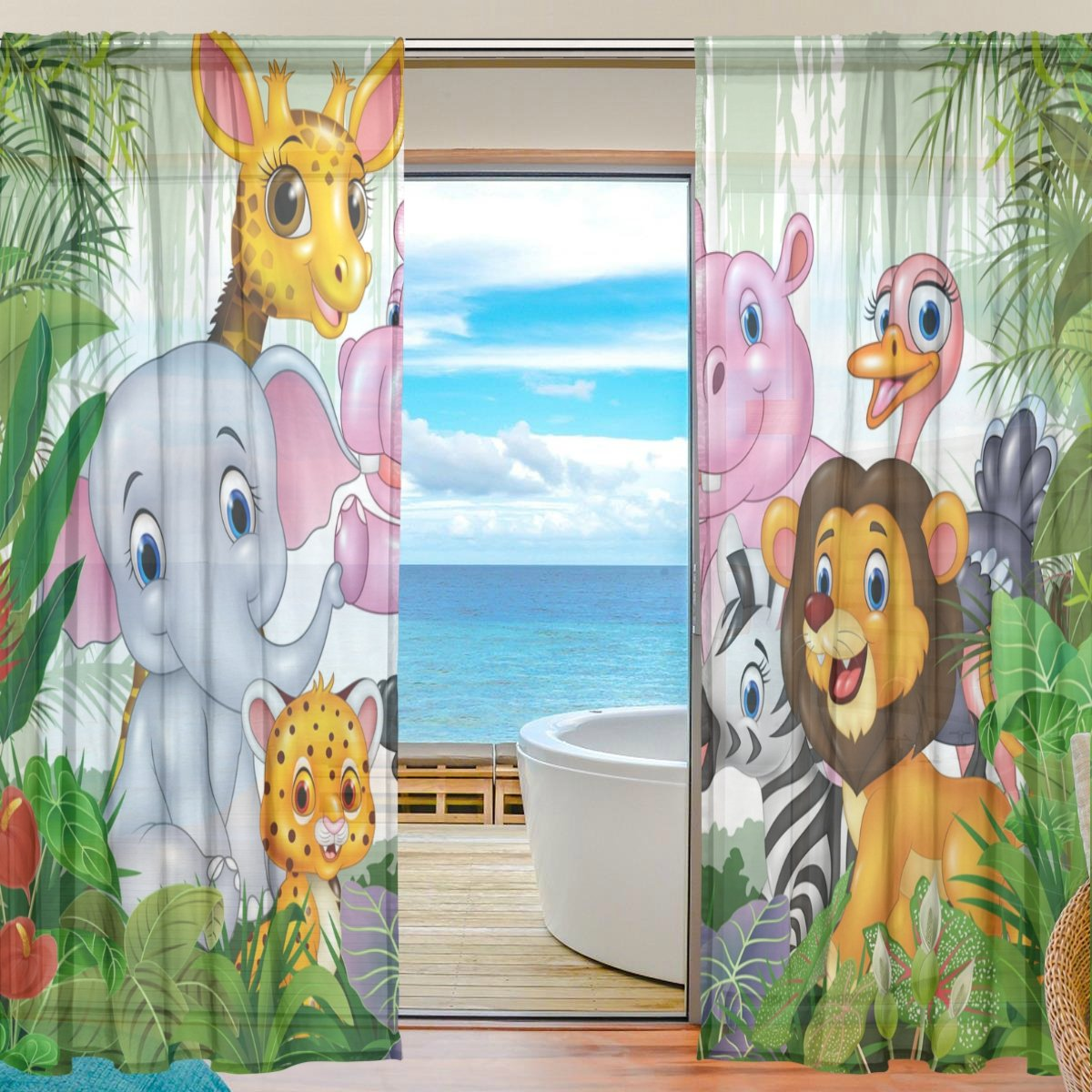 XMCL Wild Animal In The Jungle Sheer Curtains Window Decorative Long Extra Wide for Living Room Bedroom Kids Room Window Voile 2 Panels