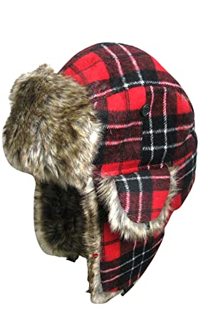 783050850c644 Red Tartan Trapper Hat  Amazon.co.uk  Clothing