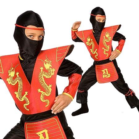 Morph Disfraz de Ninja para niños Traje de Vestir de Kung Fu Rojo para niños - Grande (9-11 años)
