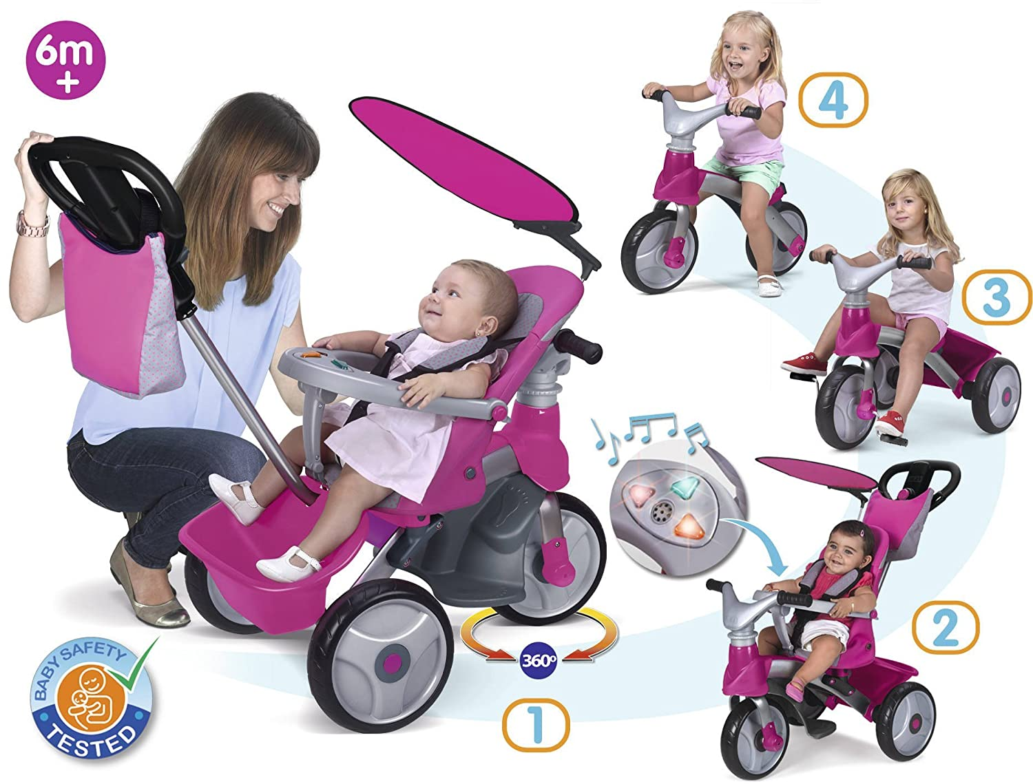 FEBER - Triciclo Baby Trike Easy Evolution, Color Rosa (Famosa 800009561): Amazon.es: Juguetes y juegos