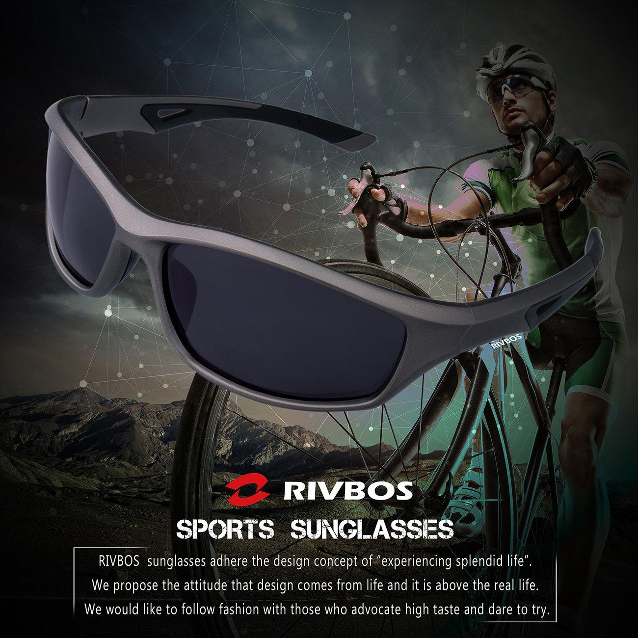 RIVBOS RBS942 unettes de Soleil Sports Vélo VTT Polarisées Unisexe Sport avec Verres Incassables UV400 Polarisé Hommes Femmes Cyclisme Baseball Course à Pied Ski Entraînement Sportif Golf Noir&noir 7ojYa