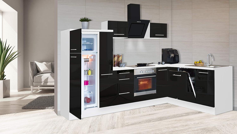 respekta Winkelküche Cocina Pequeña Cocina Forma L Cocina Blanco Negro Alto Brillo 290x200 CM: Amazon.es: Hogar
