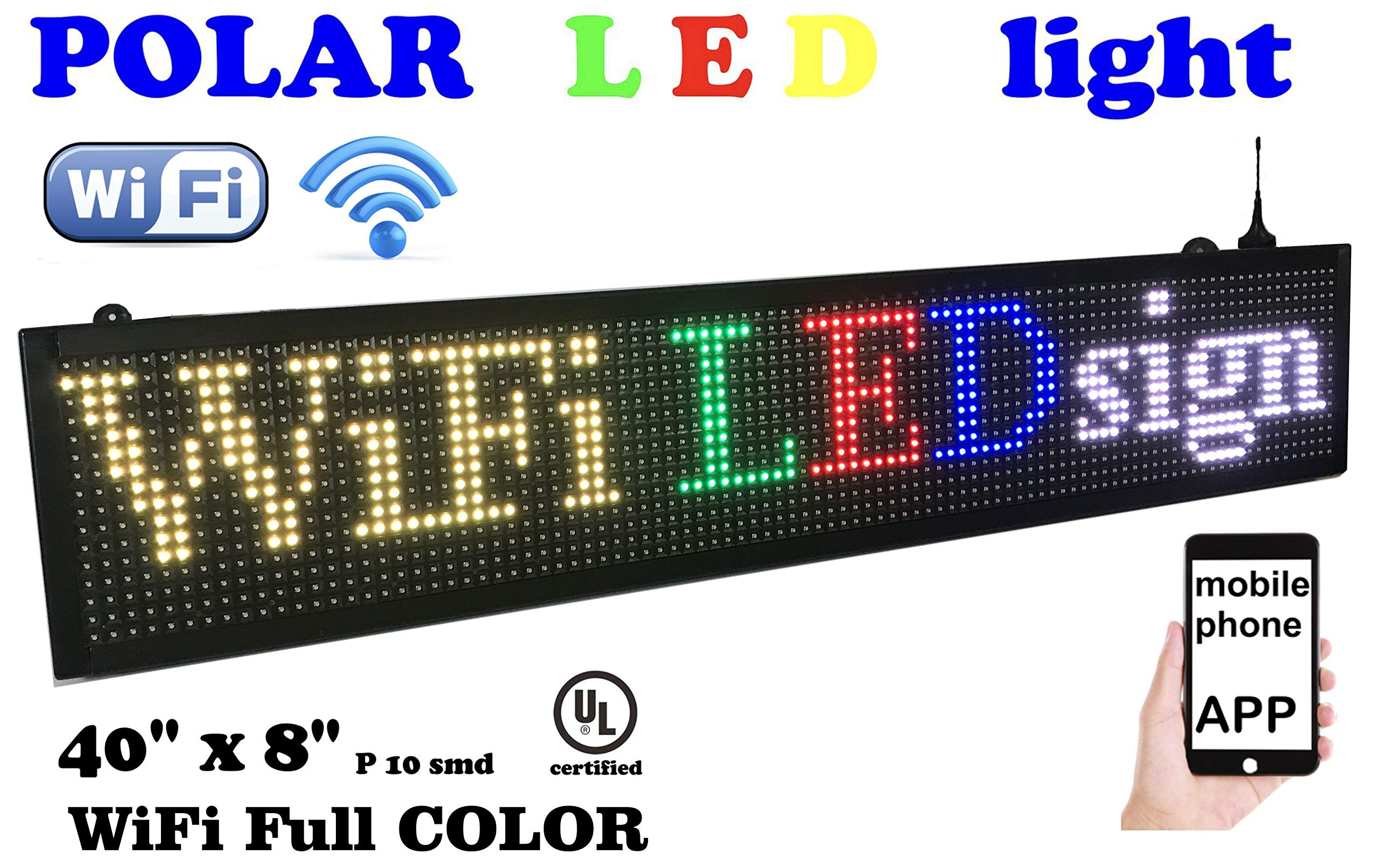 WiFi LED Sign, 7 Color Sign 40'' x 8'' with high Resolution P10 and New SMD Technology. Perfect Solution for Advertising by POLAR light